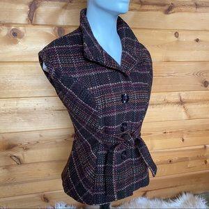 Cabi vest jacket cap tie cinch tweed plaid collar